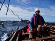 Charles Lyster sailing faering in force five wind