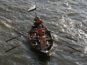 faering with flag in Great River Race