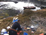 cooking over open fire, Scottish island, bivouac, faering