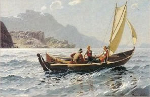 painting of faering sailing on fjord, Hans Dahl