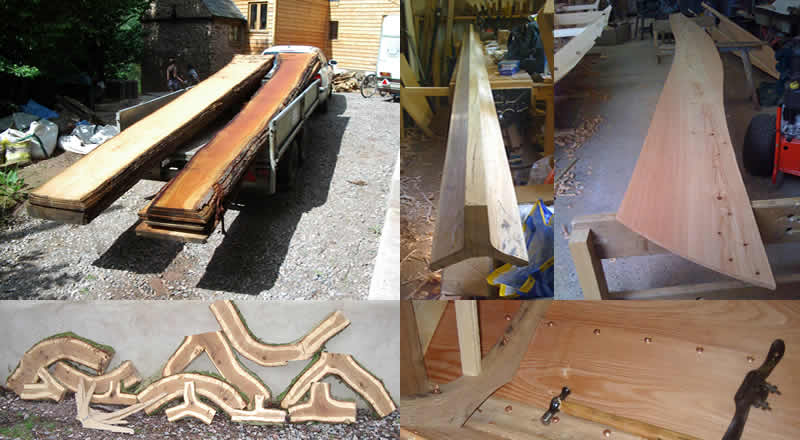Fresh sawn larch boards, traditional Nowegian keel shape, Larch strake ready to fit, oak crooks for frames, copper clenched nails in faering hull